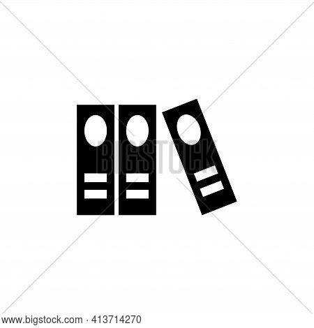 Organize Office Folders, Stack Books. Flat Vector Icon Illustration. Simple Black Symbol On White Ba