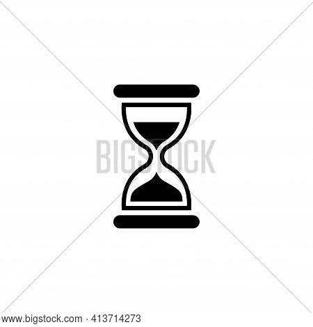 Hourglass Time, Sand Clock, Minute Timer. Flat Vector Icon Illustration. Simple Black Symbol On Whit