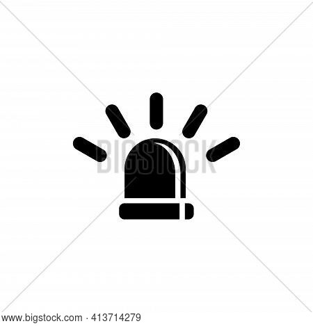 Emergency Siren, Police Alarm, Medical Alert. Flat Vector Icon Illustration. Simple Black Symbol On