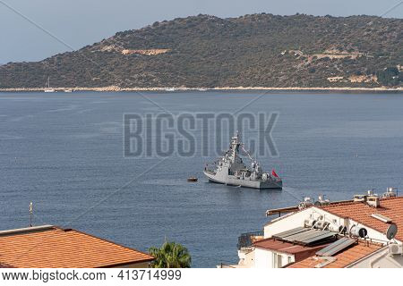 Turkish Naval Forces Military Ship In Mediterranean Sea In Bay
