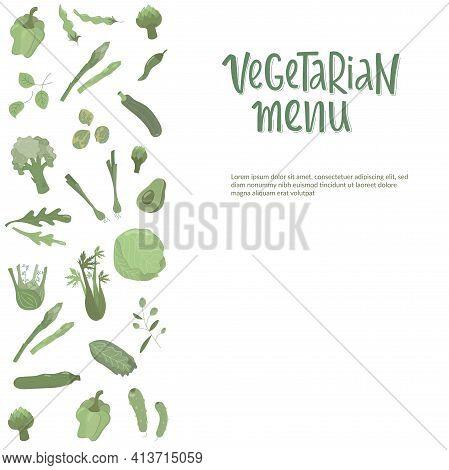 Vegetarian Menu Handwritten Sign With Green Vegetables. Vector Stock Illustration For Design Templat