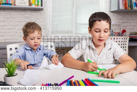 Kids Draw In Creativity At Home Together. Children Are Painting In Kindergarten. Cute Boys Studying