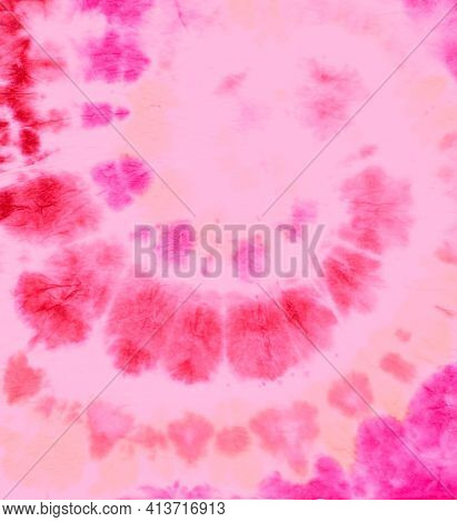 Pink Tie Dye Swirl. Hippie Design With Psychedelic Spiral. Batik Painting. Tye Dye Art Texture. Abst