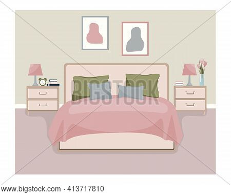 Interior Bed Room With Furniture And Accessories: Nightstands With Lamp And Alarm Clock, Bed, Bedsid