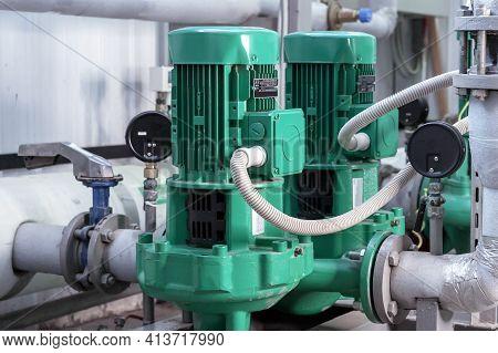 Boiler Circuit Pumps. Gas Boiler House Equipment.