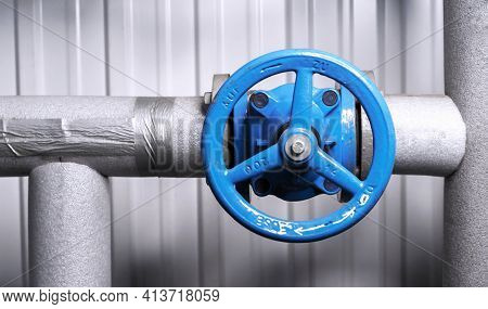 Shutoff Valves In A Water Supply Network. Gas Boiler House Equipment.