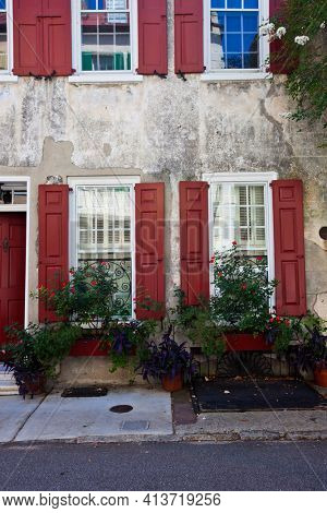 Vintage buildings in downtown Charleston, South Carolina add to the city's historic charm.