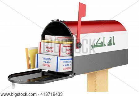 Mailbox With Iraqi Flag With Parcels, Envelopes Inside. Shipping In Iraq, Concept. 3d Rendering Isol