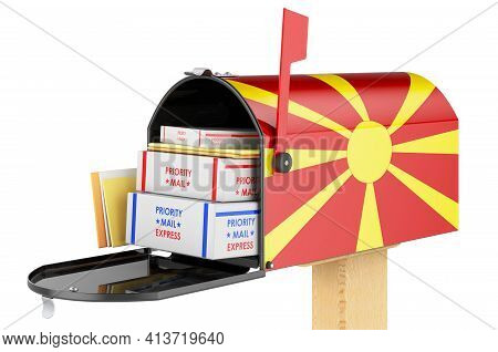 Mailbox With Macedonian Flag With Parcels, Envelopes Inside. Shipping In Macedonia, Concept. 3d Rend