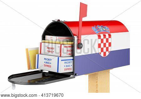 Mailbox With Croatian Flag With Parcels, Envelopes Inside. Shipping In Croatia, Concept. 3d Renderin