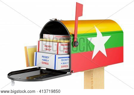 Mailbox With Myanmar Flag With Parcels, Envelopes Inside. Shipping In Myanmar, Concept. 3d Rendering