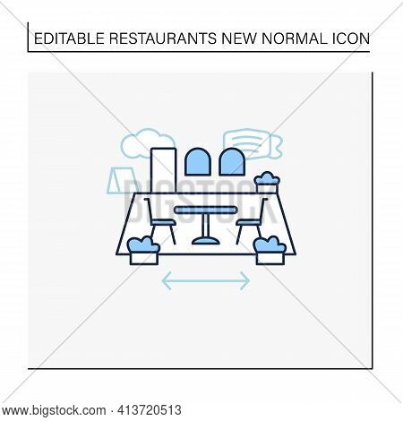 Patio Dining Line Icon. Outdoor Dining Space. Forced Distance. Regulation Through Covid19. Restauran