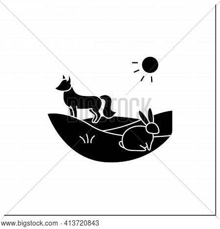 Grasslands Glyph Icon. Fox And Rabbit Live In Grasslands. Hunting. Generally Located Between Deserts