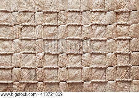 Texture Of A Wicker Mat, Baskets, Handbags Made Of Natural Materials, Weaving Of Fibers, Handmade Wi