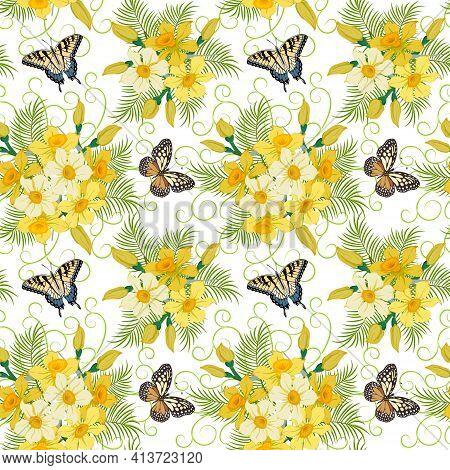 Seamless Pattern With Bouquets Of Daffodils.butterflies And Bouquets Of Daffodils On A White Backgro