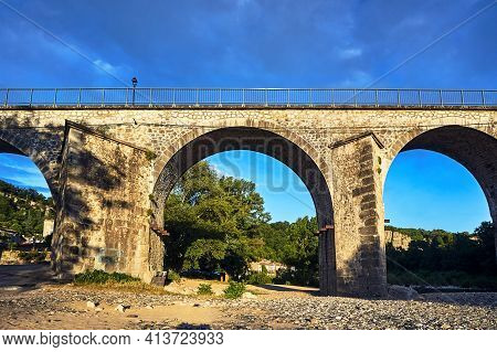 Stone, Railway Viaduct Over The River Ardeche In France