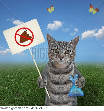 In The Meadow A Gray Cat Holds A Blue Plastic Bag With Poop And A Prohibition Sign That Says Clean U