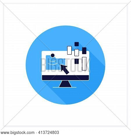 Collect Data Online Flat Icon. Data Compiling, Account Information Gathering. Online Banking Company