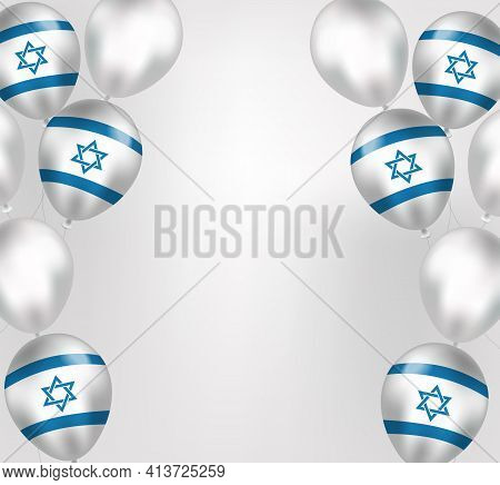 Happy Israel Independence Day Greeting Card In Realistic Style With Israel Flag Balloons. Jewish Nat