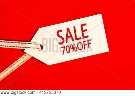 Sale 70 Present Off- Text On White Label On Red Background.