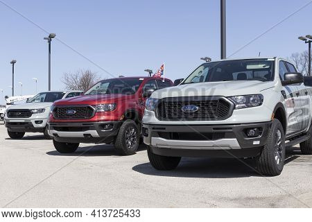Fishers - Circa March 2021: Ford Ranger Pickup Truck Display At A Dealership. The Ranger Nameplate H