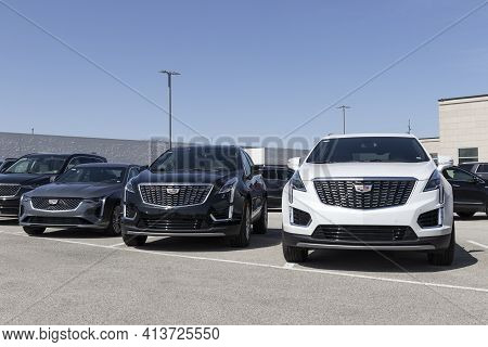 Fishers - Circa March 2021: Cadillac Car And Suv Display. Cadillac Is The Luxury Division Of General
