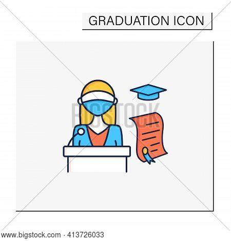 Graduation Ceremony Color Icon. Professor Gives Students Education Documents. Motivation Speech. Dip