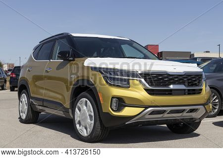 Fishers - Circa March 2021: Kia Seltos Undergoing Prep. Kia Motors Is Minority Owned By The Hyundai