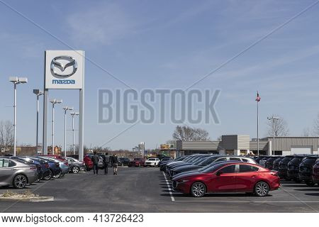 Indianapolis - Circa March 2021: Mazda Car And Suv Dealership. Mazda Has Been At The Forefront Of En