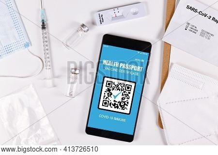 Concept For International Corona Virus Passport On Mobile Phone To Allow Privileges To People With V