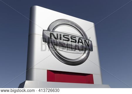 Noblesville - Circa March 2021: Nissan Car And Suv Dealership. Nissan Is Part Of The Renault Nissan