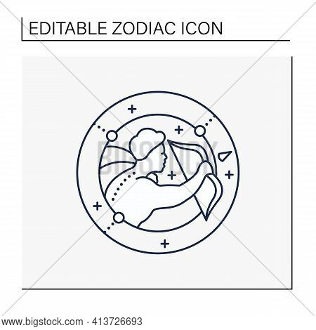 Sagittarius Line Icon. Ninth Fire Sign In Zodiac. Shooter Birth Symbol. Mystic Horoscope Sign. Astro