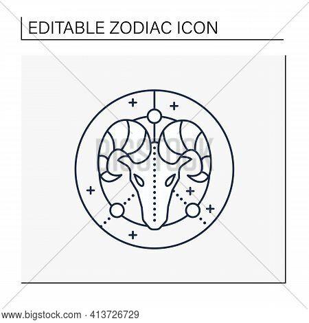 Aries Line Icon. Ram Symbol. First Fire Sign In Zodiac. Birth Symbol. Mystic Horoscope Sign. Astrolo