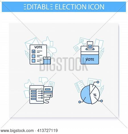 Election Line Icons Set. Election, Voting Machine And Poll, Vote Box. Choice, Vote Concept. Democrac