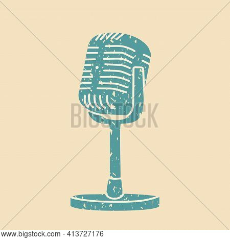 Retro Microphone On The Stand. Vector Illustration Hand Drawn, Crayons Or Crayons Style. Eps 10