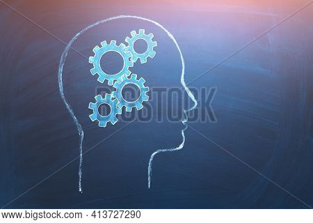 Concept Of Human Intelligence. Head And Brain Gears In Progress. Education, Intellectual Property, B