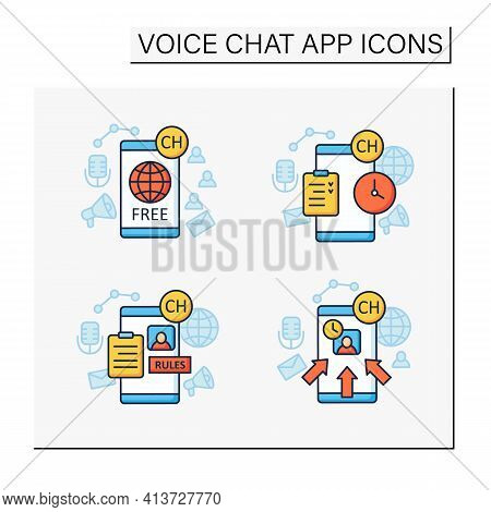 Drop In Audio App Color Icons Set.communication Application With Friends.application Rules, Raped Po
