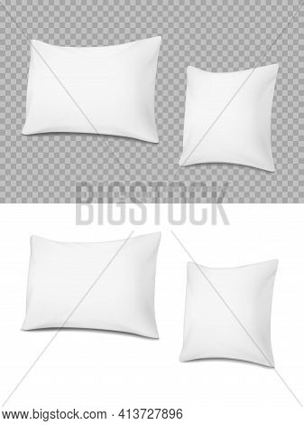 White Realistic Pillows, Vector Cushions 3d Mockup Of Rectangular And Square Shape Front View. Soft