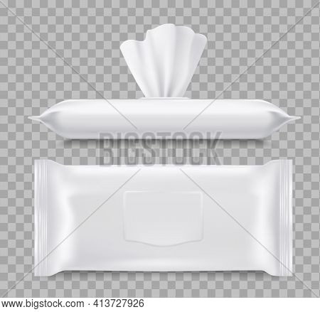 Wet Wipes Packaging, Healthcare 3d Vector Mockup. Paper Or Fabric Napkins, Close And Open Blank Pack