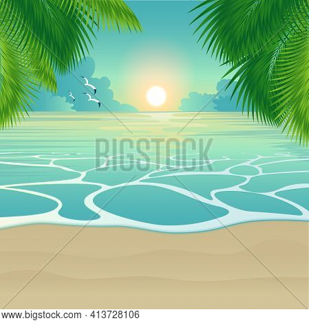 Sunset At The Tropical Island. Summer Vector Background With Palm Leaves And And Evening Tide Flow A