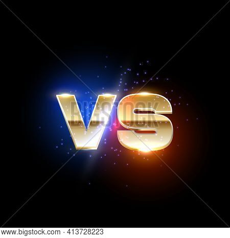 Golden Versus Vs Sign, Game Or Sport Confrontation. Vector Gold Symbol Separated On Red And Blue Sid
