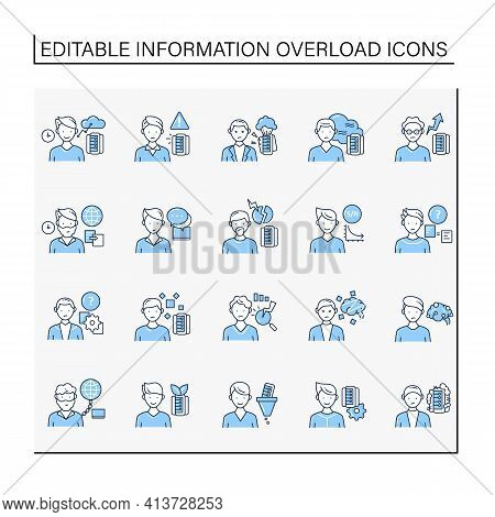 Information Overload Line Icons Set. Consists Of Information Age, Data Smog, Info Pollution And Ecol