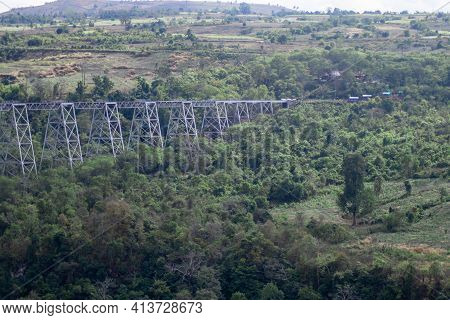 View Over The Massive Famous Goteik Viaduct Bridge For The Local Commuter Train In Myanmar, Burma
