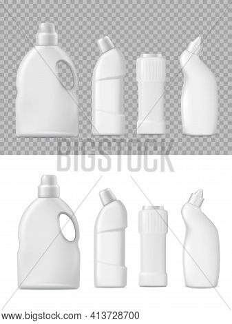 Detergent And Cleanser Bottles Packaging 3d Vector Mockup. Realistic Blank Plastic Packages, White H