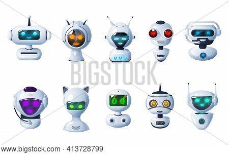 Chat Bot Icons, Cartoon Robots, Vector Cyborg Heads With Digital Glow Face, Microphones And Antennas