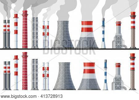 Industrial Chimney Pollution, Factory Pipes Set With Toxic Air Clouds. Vector Plant Tubes Emitting D