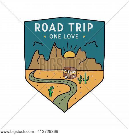 Vintage Camping Rv Logo, Adventure Emblem Illustration Design. Outdoor Road Trip Label With Camper T
