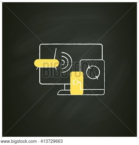 Multiplayer Chalk Icon. Technical Devices. Wi- Fi, Computer, Phone. Synchronically. Wireless Equipme