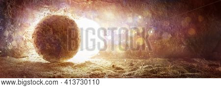 Abstract Resurrection Concept - Rolled Rock With Defocused Lights