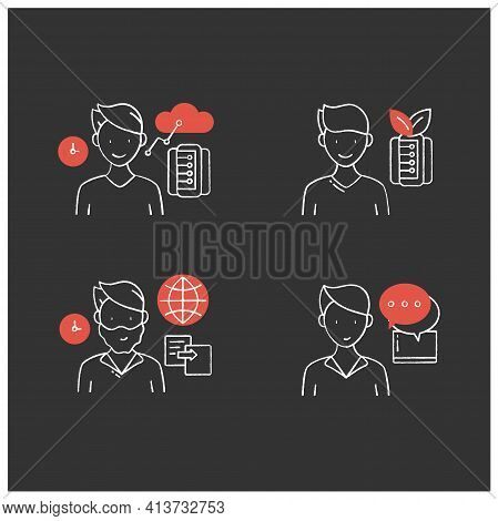 Information Overload Chalk Icons Set. Consists Of Instant Messaging, Data Duplication, Information E